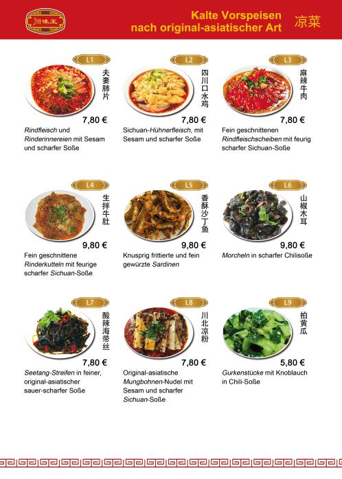 Speisekarte - Sichuan Küche Restaurant München
